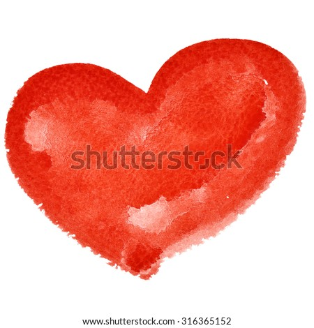 Red watercolor heart isolated on the white background - raster illustration - stock photo