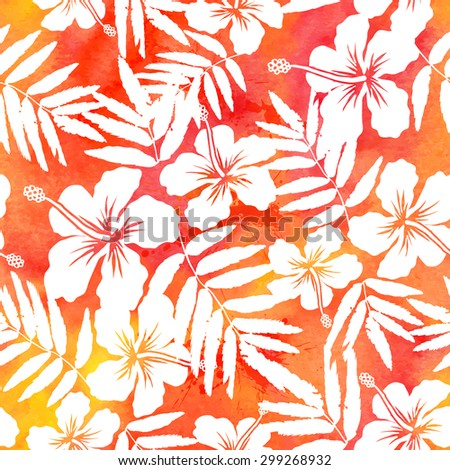 Red watercolor hibiscus summer seamless pattern - stock photo