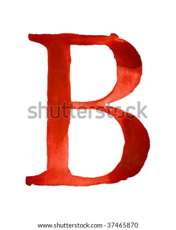 Red watercolor letter B