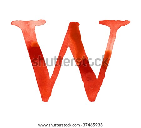 Red watercolor letter W