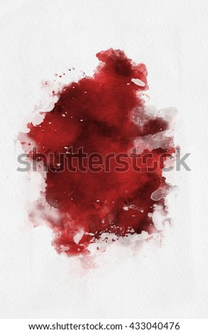 Red watercolor paint banner with random brushstrokes as a central band over textured white paper with copy space for a design template - stock photo