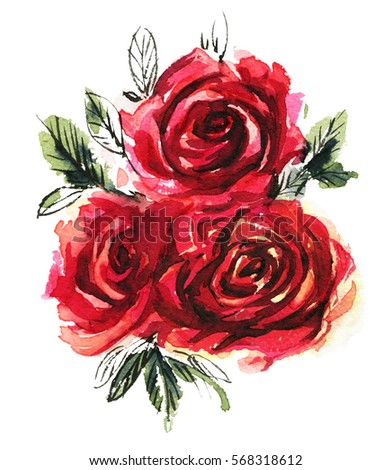 Watercolor Red Rose Stock Images, Royalty-Free Images ...