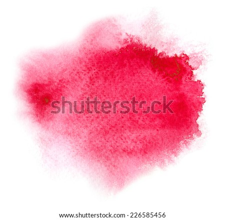Red watercolour or ink stain with water color paint splash - stock photo