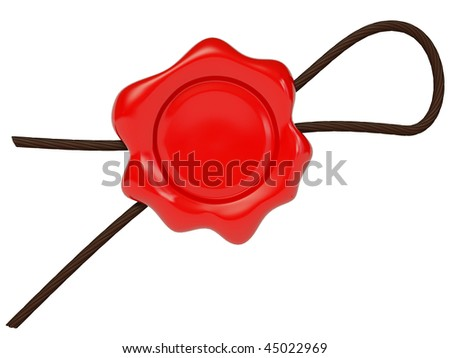 red wax on white background