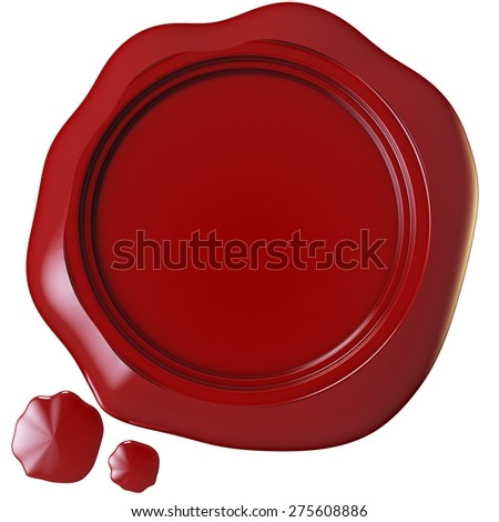 red wax seal 3d rendering with clipping path
