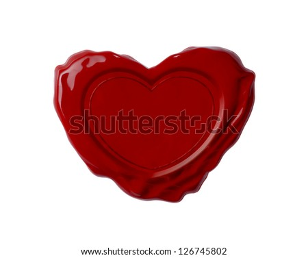 Red wax seal in shape of heart isolated on white - stock photo