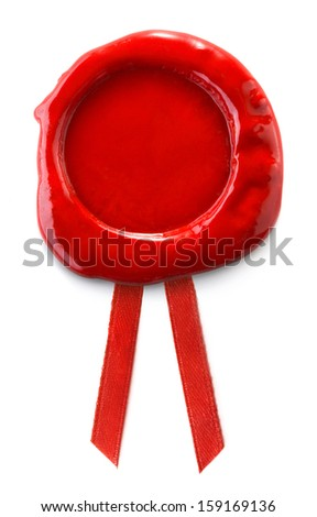 Red wax seal isolated on white background - stock photo