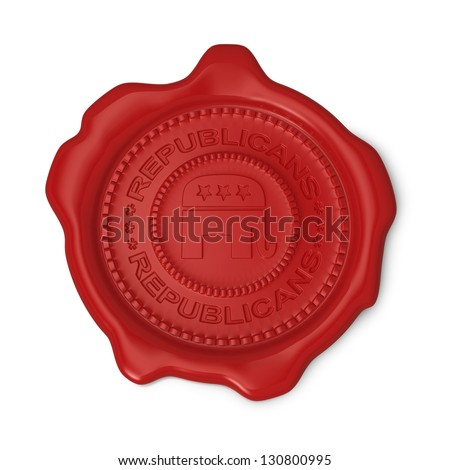 Red wax seal of approval as Republicans party symbol on white background