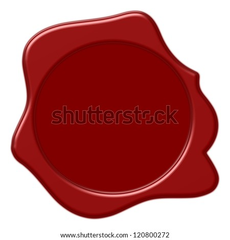 Red wax seal of approval on white background - stock photo