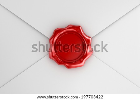 Red wax seal on the white envelope