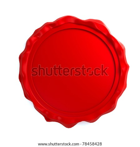 Red wax seal over white background. Computer generated image - stock photo