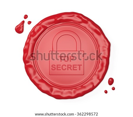 Red wax seal , Top secret , isolated on white , 3d render - stock photo