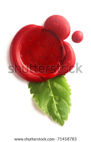 Red wax seal with green leaf isolated on white - stock photo