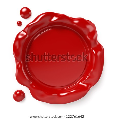 Red wax seal with space for logo or text isolated on white background. Computer generated image with clipping path. - stock photo