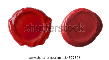 red waxseals set or post stamps isolated on white - stock photo