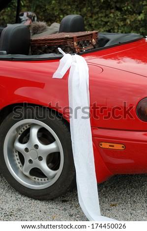 Red wedding car. - stock photo