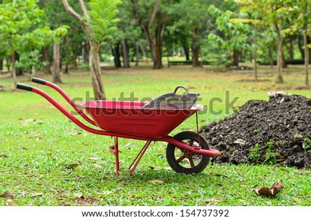 red wheelbarrow in garden