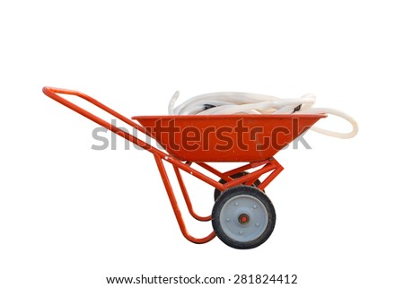Red Wheelbarrow with rubber tubeisolated isolated on white. - stock photo