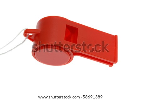 Red whistle isolated on white - stock photo