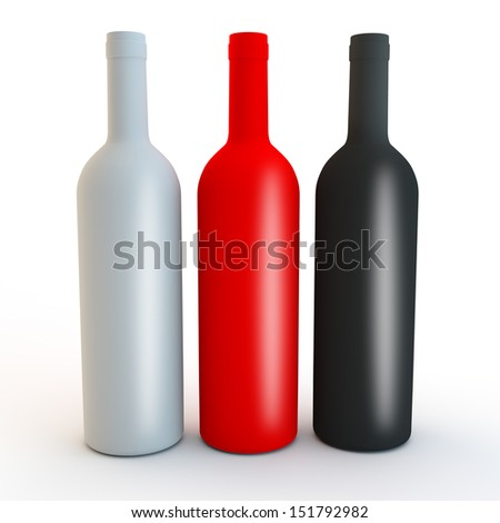red, white and black bottles for alcohol or water design - stock photo