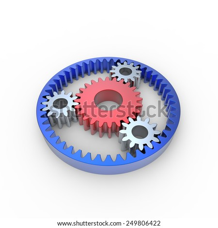 Red white and blue anodized steel planetary gears on a white background - stock photo