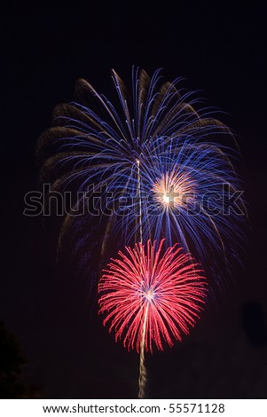 Red, white and blue fireworks against a black night sky vertical - stock photo