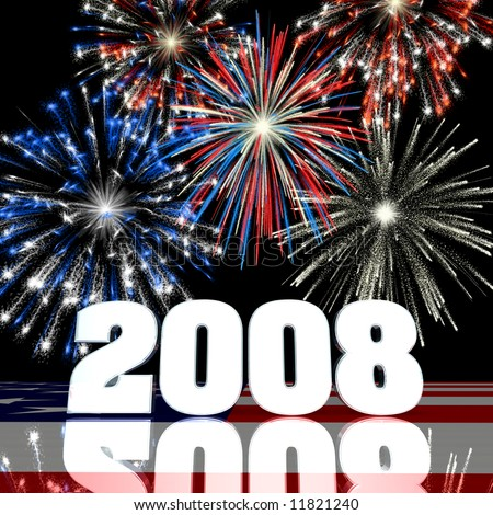 Red, white and blue fireworks displayed behind a 3D 2008 with reflections over a United States Flag.. - stock photo