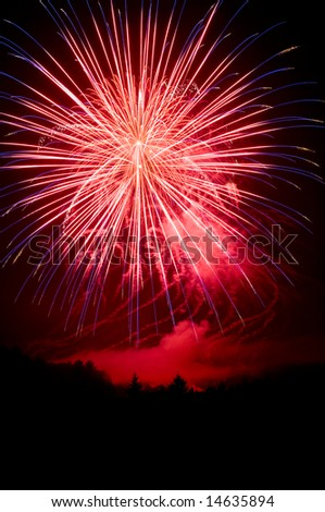 Red, white and blue fireworks on 4th of July, Independence Day - stock photo