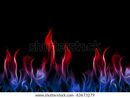 Red White and Blue Flames A fractal filtered image of red white and blue flames. Horizontal. - stock photo