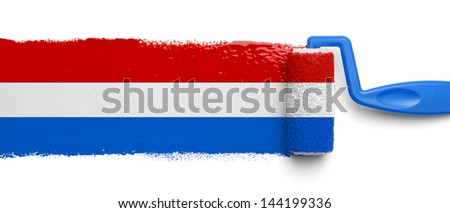 Red White and Blue Paint Roller Isolated on White Background. - stock photo