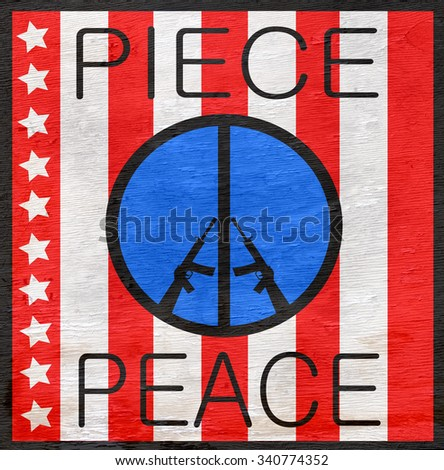 red white and blue peace symbol with assault rifles on wood grain texture - stock photo