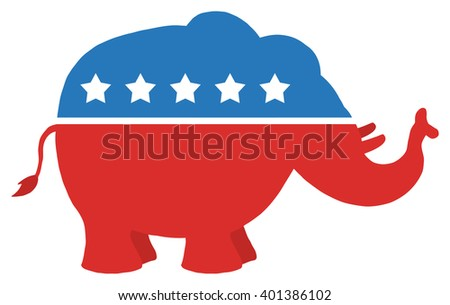 Red White And Blue Republican Elephant. Raster Illustration Flat Design Style Isolated On White - stock photo