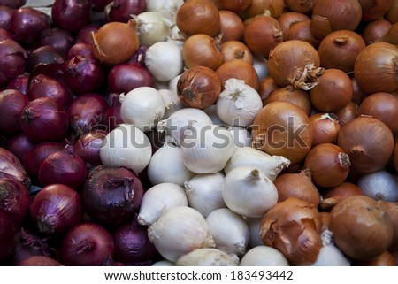 Red White and Brown onions on a market stall. Full Frame. - stock photo