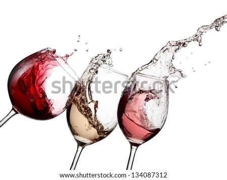 Red, white and rose wine splash with drops
