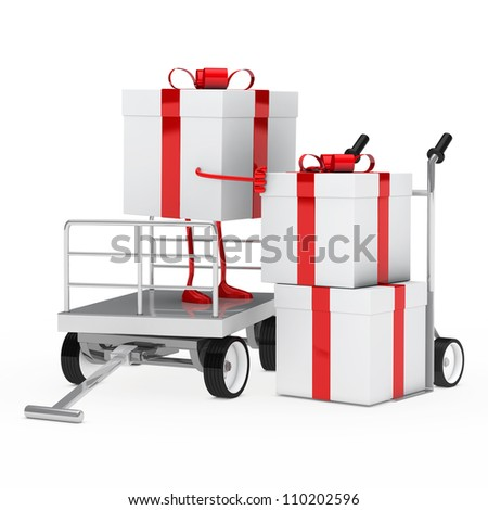 red white gift box onload a trolley