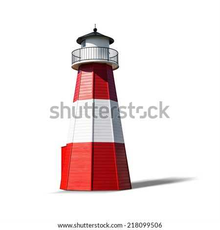 Red white lighthouse isolated on white background. Object with clipping path - stock photo
