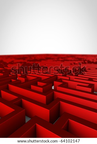 red white maze with depth of field - stock photo