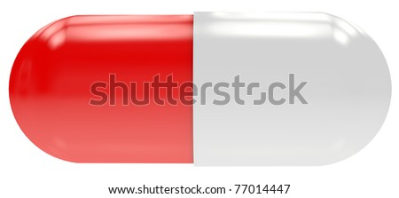 Red-white shiny pill isolated on white - stock photo