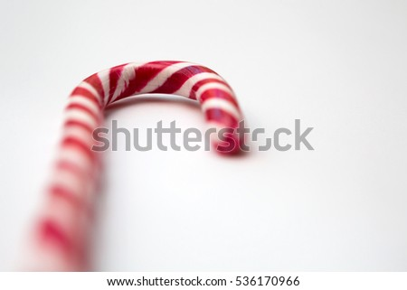 Red White Striped Candy Cane Close-Up