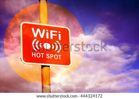 Red Wifi hotspot sign against a purple sky background, 3D illustration