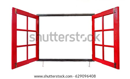 Red Window Frames On White Background Stock Photo (Royalty Free ...