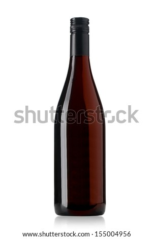 red wine and a bottle isolated over white backgroundÃ?Â?? With clipping path - stock photo
