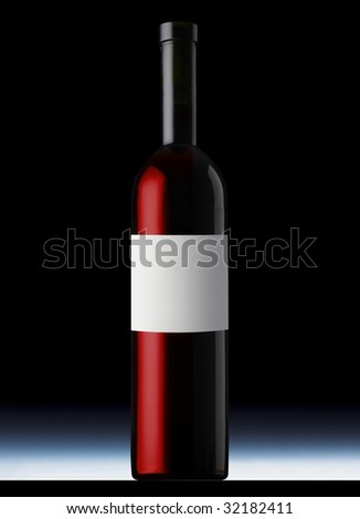 Red wine bottle - stock photo
