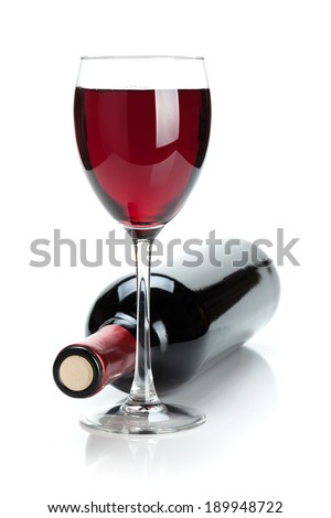 Red wine bottle and glass. Isolated on white background