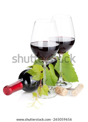 Red wine bottle and glasses. Isolated on white background - stock photo