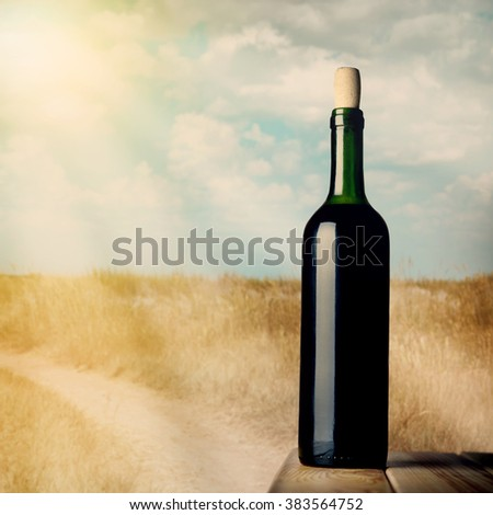 red wine bottle and wine glass on wodden table on a nature background illustration - stock photo