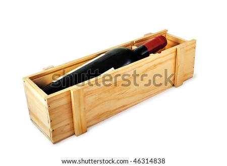 Red wine bottle in wooden box with soft shadow. Isolated on white. - stock photo