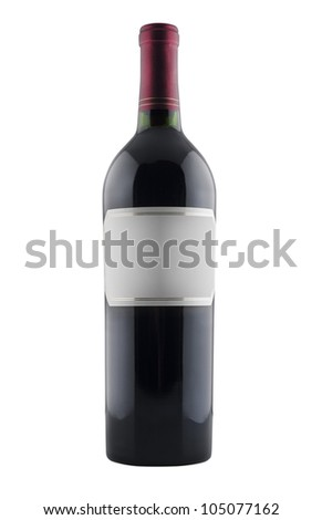 Red wine bottle, isolated on white - stock photo