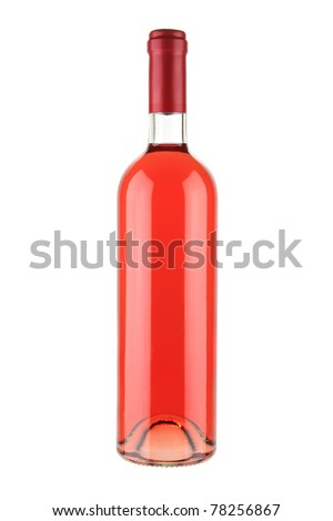 Red wine bottle isolated on white background with clipping path - stock photo