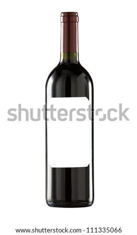 Red wine bottle isolated with blank label for your text or logo.Clipping path included